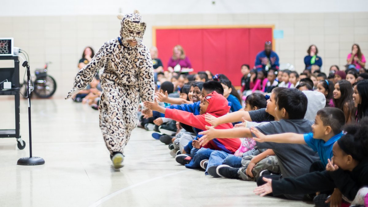 The Cheetah mascot receives high fives from students during a school rally