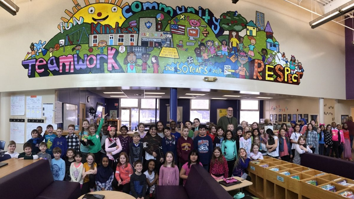 Student created school mural in Media Center