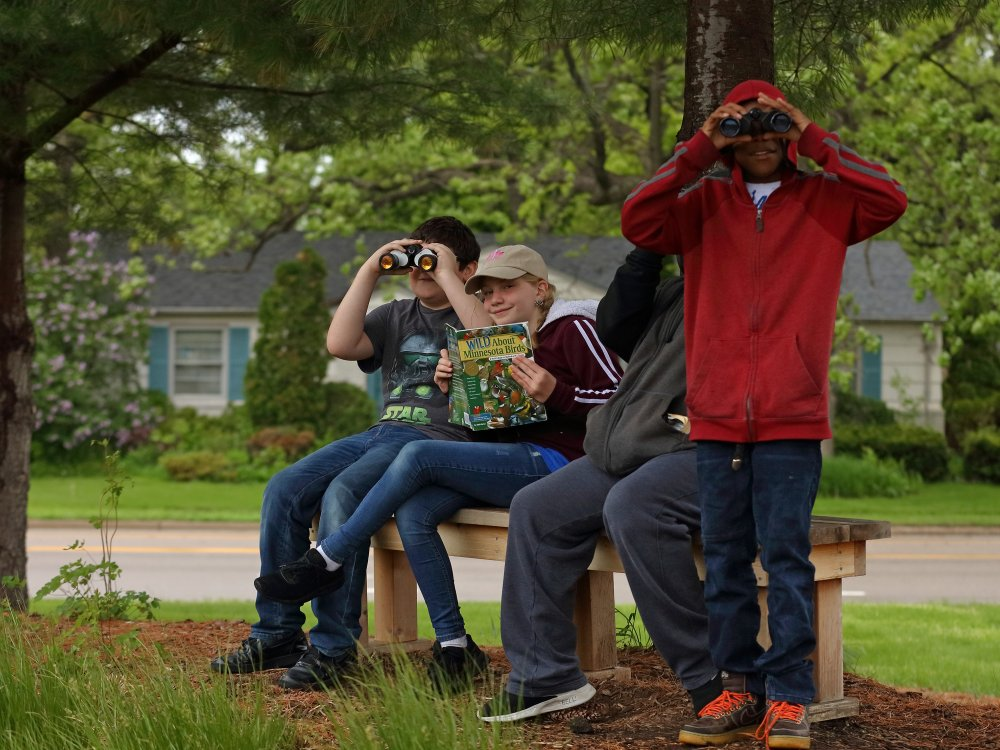 Washburn students learning in outdoor classroom
