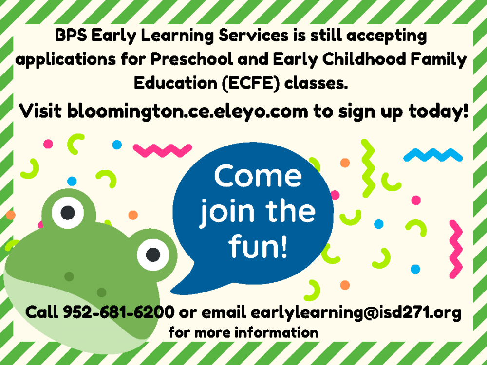Early Learning registration postcard