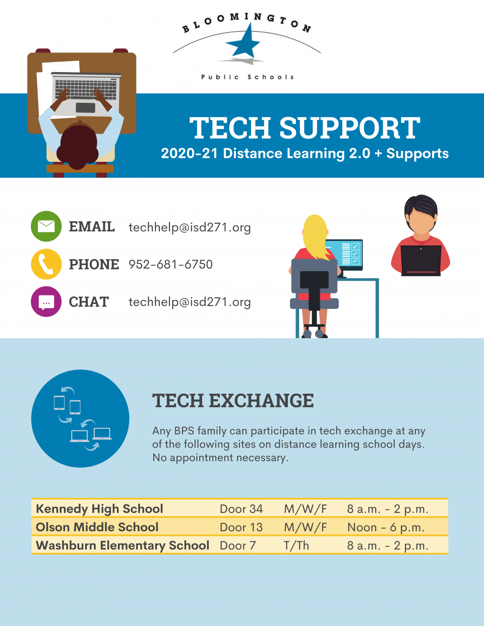 Bloomington Public Schools Tech Support: 2020-21 Distance Learning 2.0 + Supports / Email: techhelp@isd271.org; Phone: 952-681-6750; Chat: techhelp@isd271.org / Tech Exchange: Any BPS family can participate in tech exchange at any of the following sites on distance learning school days. No appointment necessary. Kennedy High School, Door 34 M/W/F from 8 a.m. - 2 p.m. / Olson Middle School Door 13 M/W/F from Noon - 6 p.m. / Washburn Elementary School Door 7 T/Th from 8 a.m. - 2 p.m.